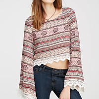Abstract Floral Crochet-Trimmed Top