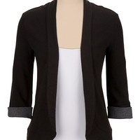 rolled sleeve open front cardigan