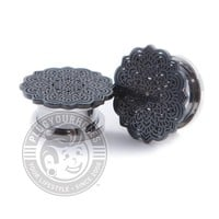 Black Tribal Flower Threaded Steel Plugs