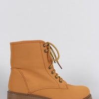 Bamboo Shearling Cuff Round Toe Lace Up Combat Work Ankle Boots