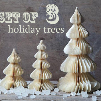 NEW! Honeycomb Tissue Paper Trees Set of 3 -  Winter White Christmas Trees to Glitter, Dye, and Decorate - Vintage Style Honeycomb Trees