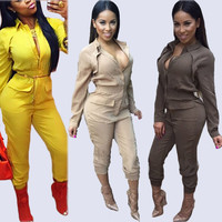 Rompers Women Jumpsuit 2015 Sexy Deep V-neck Bandage Jumpsuits Fake Two-piece Long Sleeve V neck Elegant Bodysuit Plus Size 491