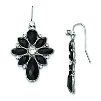 Silver-tone Black and White Crystal Textured Dangle Earrings BF2555