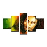 5 piece canvas art New Bob Marley HD Canvas Painting Wall Art Game Prints decorations for home Panels Poster For Linving Room