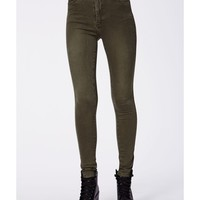 Missguided - Cecily High Waist Supersoft Skinny Jeans Khaki