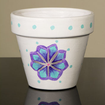 """Hand Painted Flower Pot- 6 Inch Terracotta Pot """"Abstract Flowers"""", Birthday, Housewarming, Wedding, Christening Gift- Made to Order"""