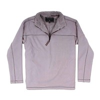 Bonded Polar Fleece & Sherpa Lined 1/4 Zip Pullover with Pockets in Faded Heather by True Grit