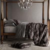 Exotic Faux Fur Blanket - Siberian Grey Fox