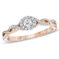 1/4 CT. T.W. Diamond Entwined Promise Ring in 10K Rose Gold