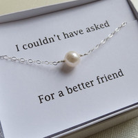 Single Pearl Bracelet & Card Set - Best Friend Bracelet- Single Pearl Bracelet, Bridal Bracelet, Bridesmaids Gifts, Pearl Jewelry