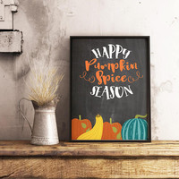 Pumpkin spice sign - Fall wall art - Pumpkin decor - Fall decor - Autumn decor - Autumn wall art - Fall decorations - PRINTABLE fall decor