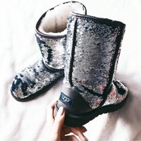 "shosouvenir : ""UGG"" Women Fashion Wool Snow Boots Calfskin Shoes"