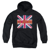 DEF LEPPARD/UNION JACK-YOUTH PULL-OVER HOODIE - BLACK -