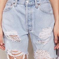 Urban Renewal Recycled Levis Destroyed Denim Bermuda Short - Urban Outfitters