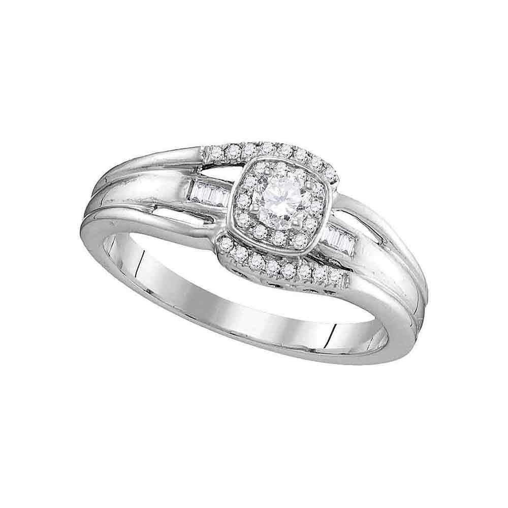 Image of 10kt White Gold Women's Round Diamond Solitaire Halo Bridal Wedding Engagement Ring 1/2 Cttw - FREE Shipping (USA/CAN)