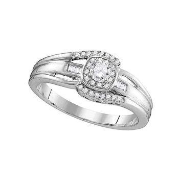 10kt White Gold Women's Round Diamond Solitaire Halo Bridal Wedding Engagement Ring 1/2 Cttw - FREE Shipping (USA/CAN)