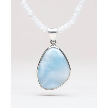 Larimar and Moonstone Pendant Necklace - One of a Kind