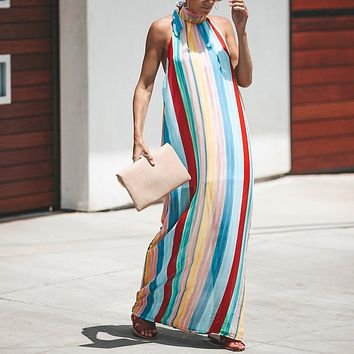 Off shoulder maxi dress Women sexy rainbow stripe loose long dress Backless halter neck summer dress streetwear