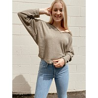 Long Sleeve Knit Top - Olive