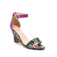 Women's Lace-up Printed Wedge Sandals