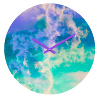 Caleb Troy Mountain Meadow Painted Clouds Round Clock