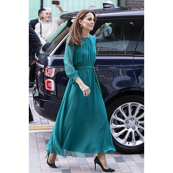 Kate Middleton Teal & Green Chiffon Long Sleeve Celebrity Dress Prom Dress Red Carpet Dress