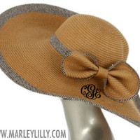 Monogrammed Wide Derby Hat with Bow | Preppy Personalized Beach Gift