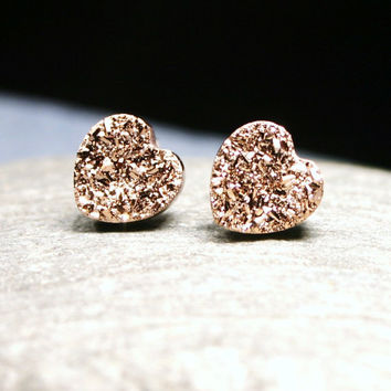 Big Rose Gold Druzy Heart Stud Earrings Metallic Love Genuine Titanium Drusy Pink Quartz Gemstone Jewelry for Women on Sterling Silver Posts