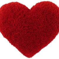 Curly Shag Red Heart Decorative Toss Pillow Classic Size