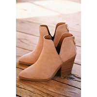 Upstream Side Cut Out Western Bootie, Camel