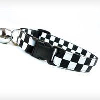 "Cat Collar - ""Time Bomb"" - Black & White Check"