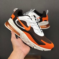 Nike Air Max 270 React White Orange KPU Drop Plastic Upper Running Shoes - Best Deal Online