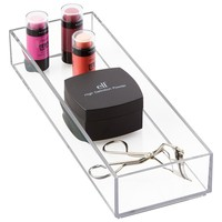 """mDesign Cosmetic Drawer Organizer for Vanity Cabinet to Hold Makeup, Beauty Products - 4"""" x 12"""" x 2"""", Clear"""