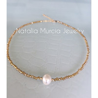 Pearl Choker Necklace Crystals and Gold Filled beads. Handmade Freshwater Pearl Tiny Gold Crystals and Gold Filled Beads Adjustable