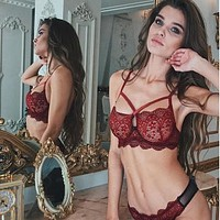 Fashion sexy lace hollow perspective temptation passion suit women three-point bra