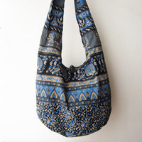 tribal crossbody bag ,ethnic messenger bag, elephant bag in blue, hipster shoulder bag, boho sling bag, indian bag, chrismas gift