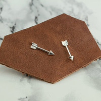tiny arrow stud earrings, sterling silver