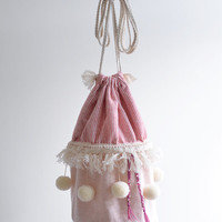 The circus has come to town bucket bag, circus style, pompom bag, red and white circus tent