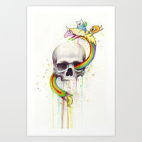 Adventure through Time and Face with Jake, Finn, and Lady Rainicorn   Skull Watercolor Art Print by Olechka