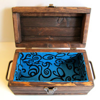 Handcrafted Rustic Wooden Small Storage Box with Lid