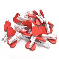 20Pcs/Pack Mini Heart Love Wooden Clothes Photo Paper Peg Pin Clothespin Craft Postcard Clips Home