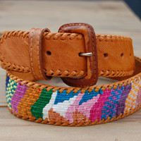 Vintage Multicolor Woven Belt from Guatemala