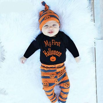 Halloween Clothing for born Babies for Little Girls Black Body+pumpkin Pants+hat Clothes for Baby Costumes Set
