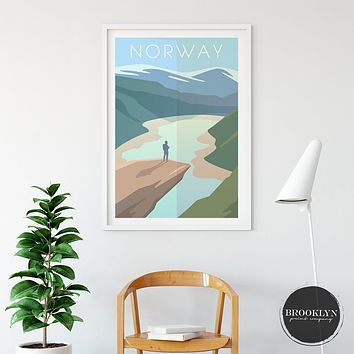 Norway Landscape City Art Travel Poster