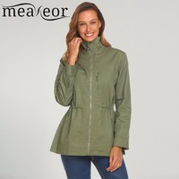 Trendy Meaneor Women 100% Cotton Jackets Casual Stand Neck Long Sleeve Zipper Lightweight Warm soft pockets Jacket 2017 new fashion AT_94_13
