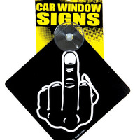 Middle Finger Car Window Signs