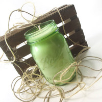 Scented Soy Candle, Green Tea scented Soy Candle -- Vintage Green Mason Jar Candle, 16 ounce Jar
