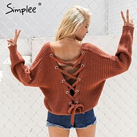 Backless Knitting Pullover Sweater