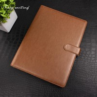 A4 PU Leather cover Organizer with 4 ring metal binder LOGO customized notebooks and journals Agenda planner journal Book
