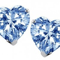 Star K 7mm Heart Simulated Aquamarine Earrings Studs Sterling Silver